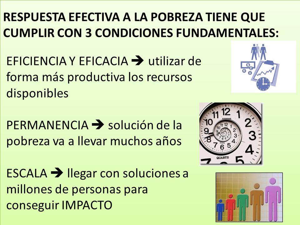 EFICIENCIA Y EFICACIA utilizar de forma más productiva los recursos disponibles PERMANENCIA solución de la pobreza va a llevar muchos años ESCALA lleg