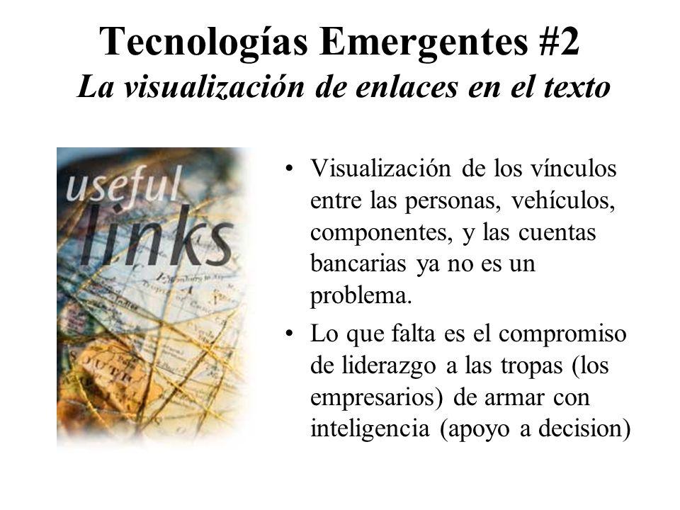Tecnologías Emergentes #2 La visualización de enlaces en el texto Visualización de los vínculos entre las personas, vehículos, componentes, y las cuentas bancarias ya no es un problema.