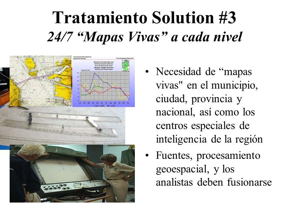 Tratamiento Solution #3 24/7 Mapas Vivas a cada nivel Necesidad de mapas vivas en el municipio, ciudad, provincia y nacional, así como los centros especiales de inteligencia de la región Fuentes, procesamiento geoespacial, y los analistas deben fusionarse