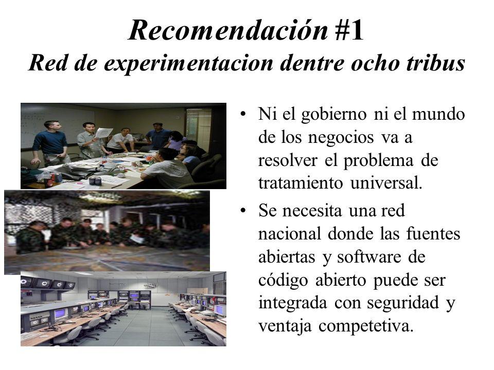 Recomendación #1 Red de experimentacion dentre ocho tribus Ni el gobierno ni el mundo de los negocios va a resolver el problema de tratamiento universal.