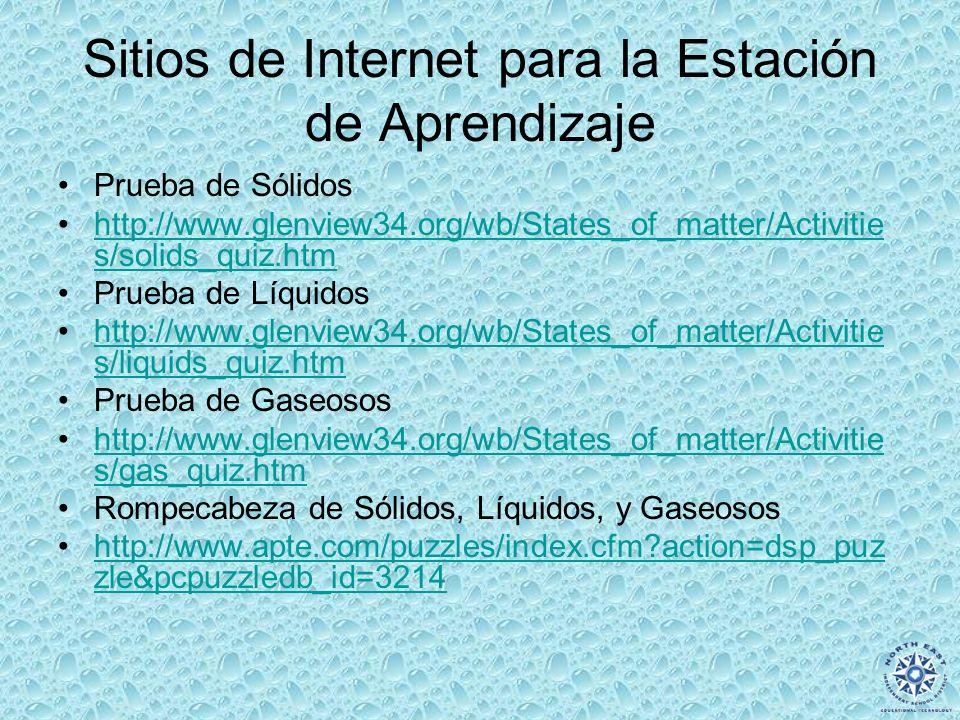 Sitios de Internet para la Estación de Aprendizaje Prueba de Sólidos http://www.glenview34.org/wb/States_of_matter/Activitie s/solids_quiz.htmhttp://w