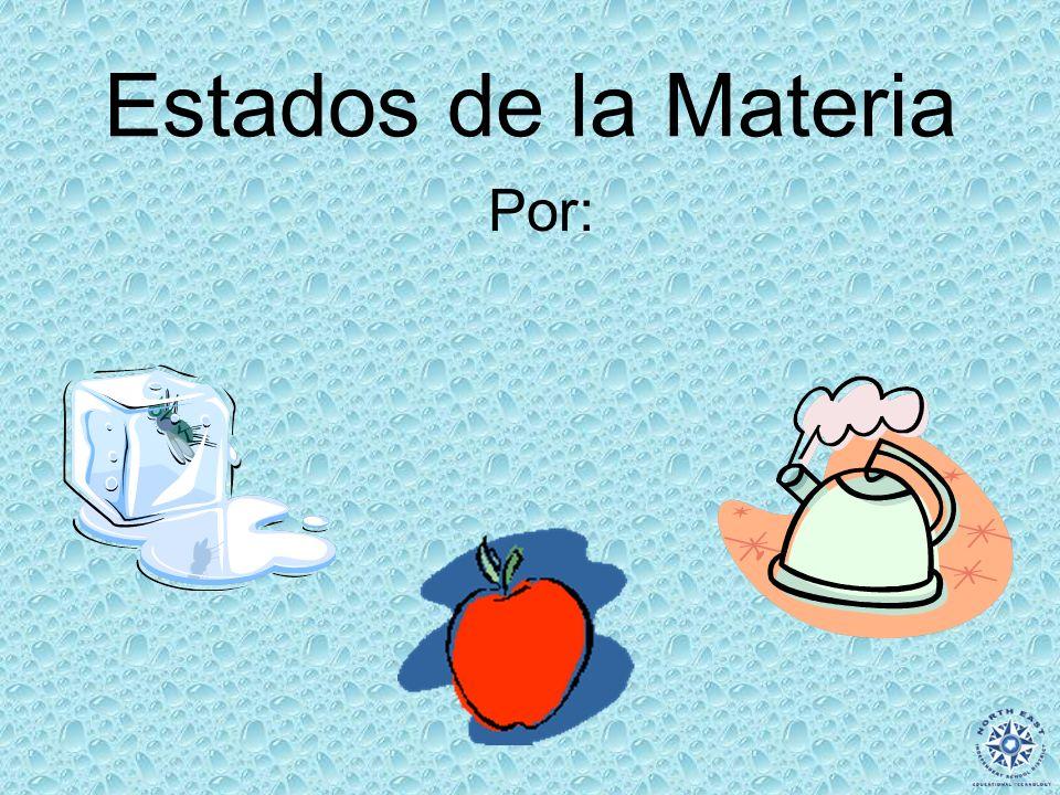 Websites: States of Matter Estados de la Materia – Factores y ejemplos http://www2.mcdaniel.edu/Graduate/TI/pages/LEWIS/ma tterweb.htmhttp://www2.mcdaniel.edu/Graduate/TI/pages/LEWIS/ma tterweb.htm Factores de Estados de la Materia http://www.chem.purdue.edu/gchelp/atoms/states.html ¿Qué es Materia.