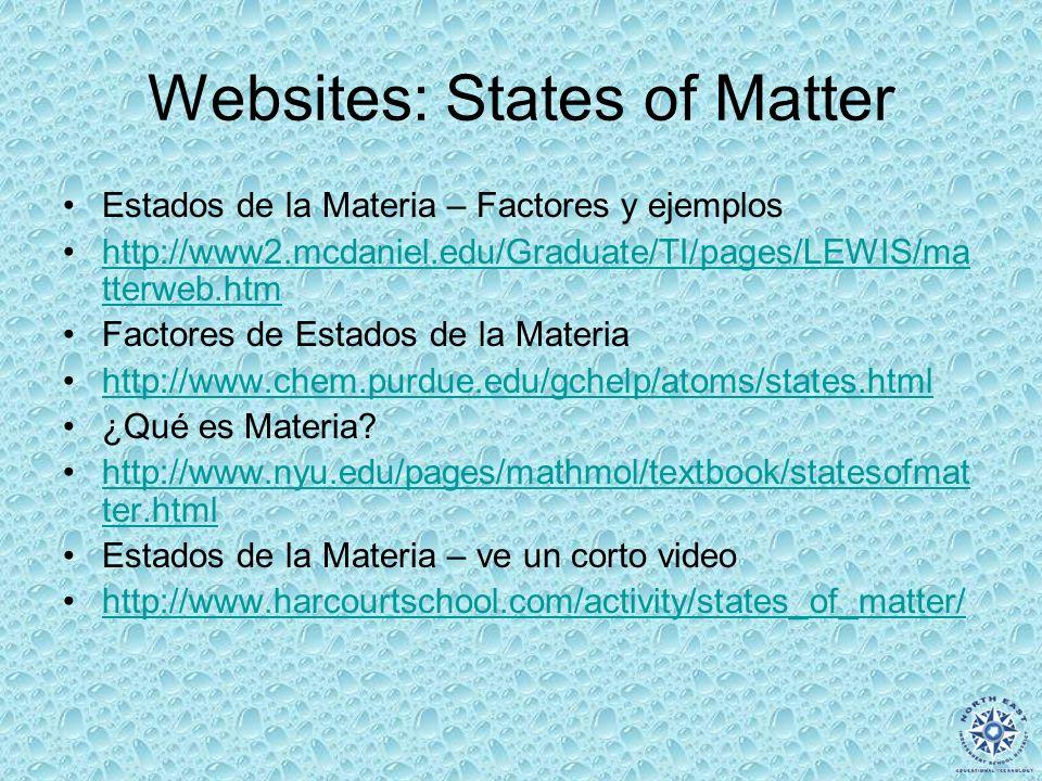 Websites: States of Matter Estados de la Materia – Factores y ejemplos http://www2.mcdaniel.edu/Graduate/TI/pages/LEWIS/ma tterweb.htmhttp://www2.mcda