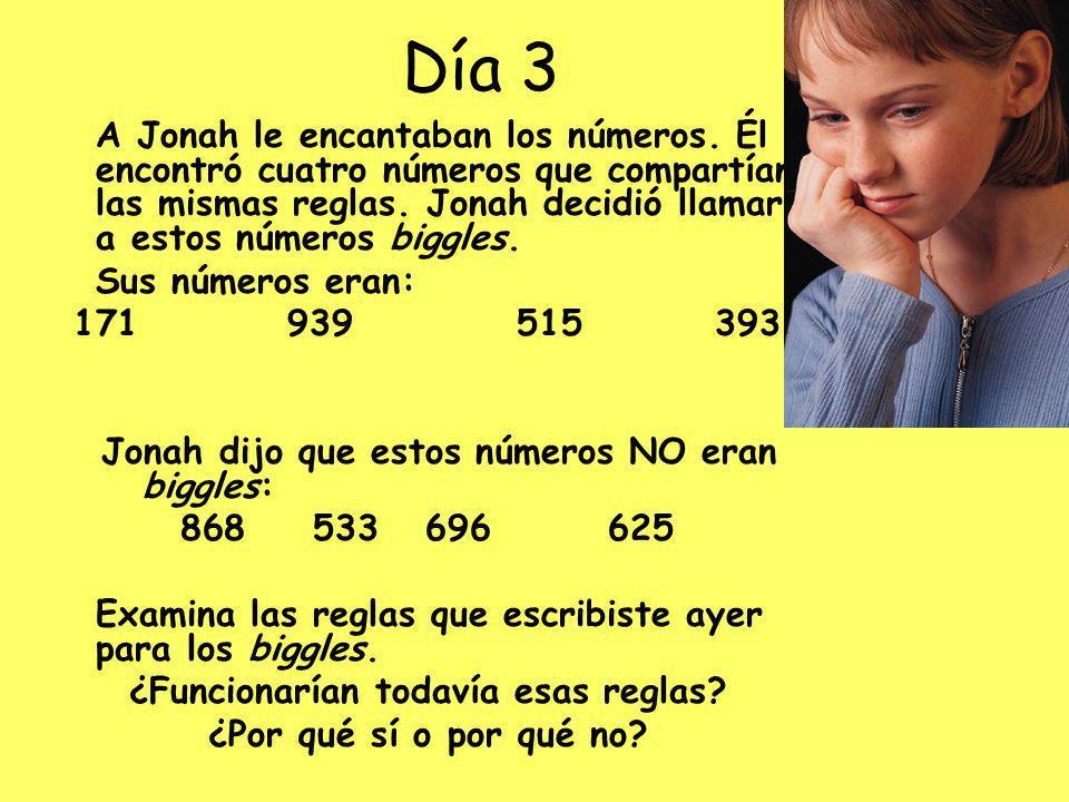 Día 3 A Jonah le encantaban los números.