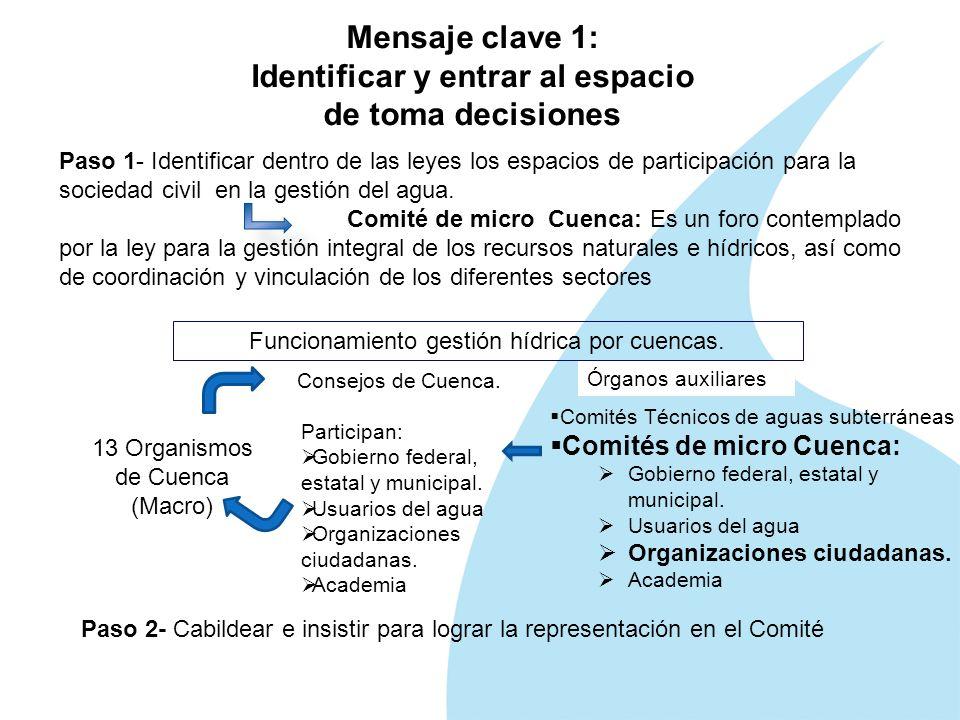 Mensaje clave 1: Identificar y entrar al espacio de toma decisiones Paso 1- Identificar dentro de las leyes los espacios de participación para la sociedad civil en la gestión del agua.