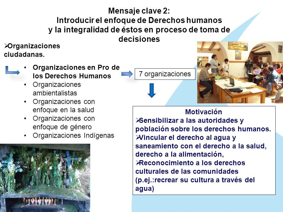Mensaje clave 2: Introducir el enfoque de Derechos humanos y la integralidad de éstos en proceso de toma de decisiones Organizaciones ciudadanas.