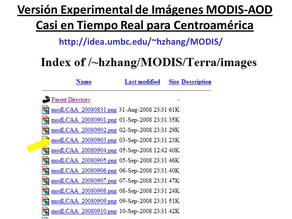 Versión Experimental de Imágenes MODIS-AOD Casi en Tiempo Real para Centroamérica http://idea.umbc.edu/~hzhang/MODIS/