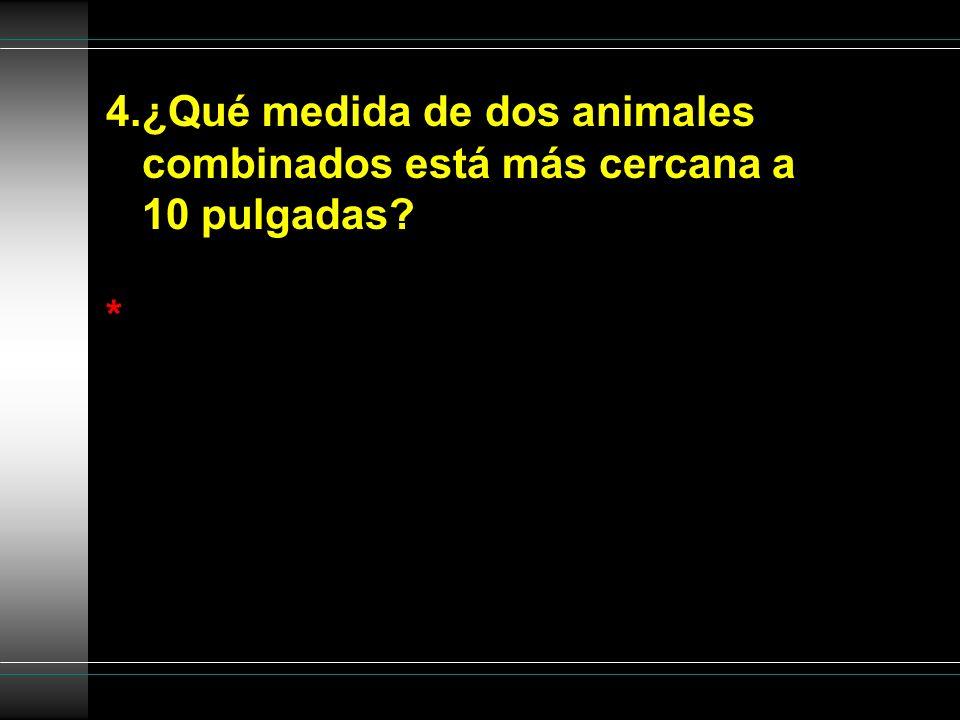 4.¿Qué medida de dos animales combinados está más cercana a 10 pulgadas? *