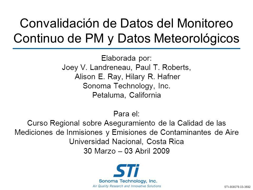 Convalidación de Datos del Monitoreo Continuo de PM y Datos Meteorológicos Elaborada por: Joey V. Landreneau, Paul T. Roberts, Alison E. Ray, Hilary R