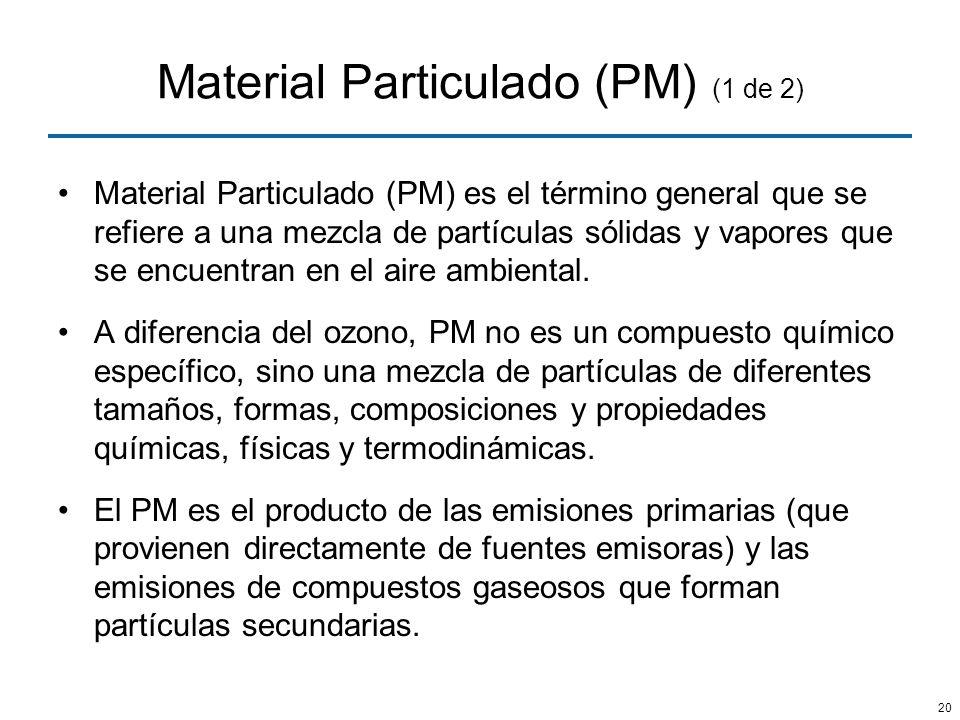 20 Material Particulado (PM) (1 de 2) Material Particulado (PM) es el término general que se refiere a una mezcla de partículas sólidas y vapores que