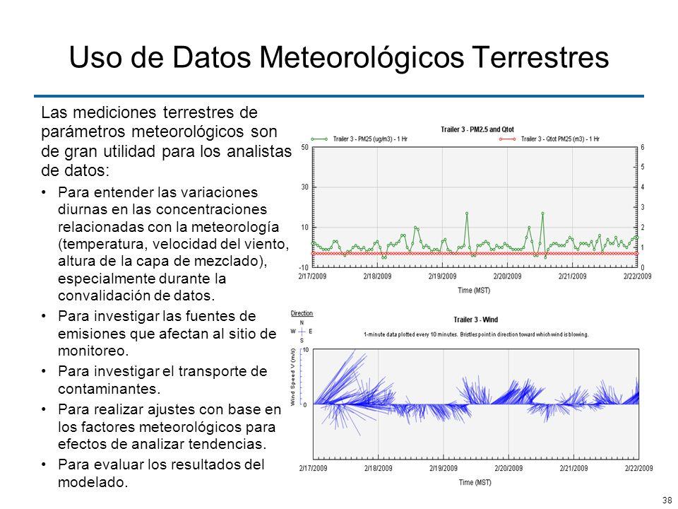 38 Uso de Datos Meteorológicos Terrestres Las mediciones terrestres de parámetros meteorológicos son de gran utilidad para los analistas de datos: Par