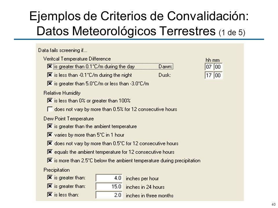 40 Ejemplos de Criterios de Convalidación: Datos Meteorológicos Terrestres (1 de 5)
