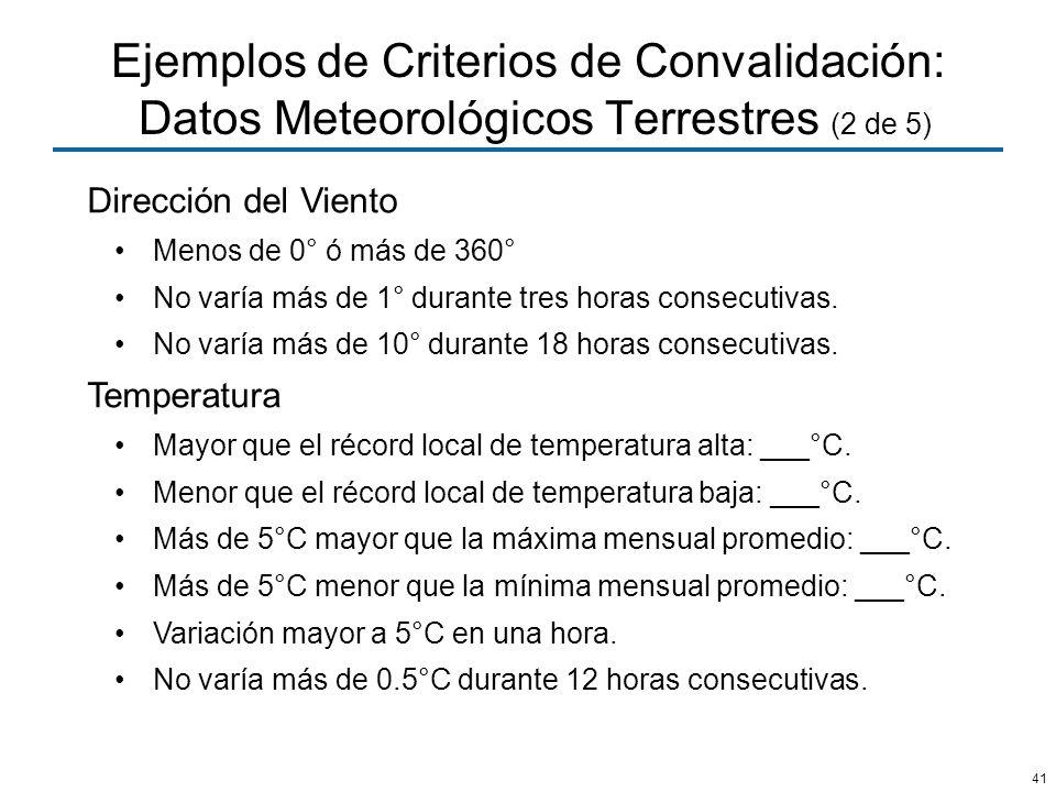 41 Ejemplos de Criterios de Convalidación: Datos Meteorológicos Terrestres (2 de 5) Dirección del Viento Menos de 0° ó más de 360° No varía más de 1°