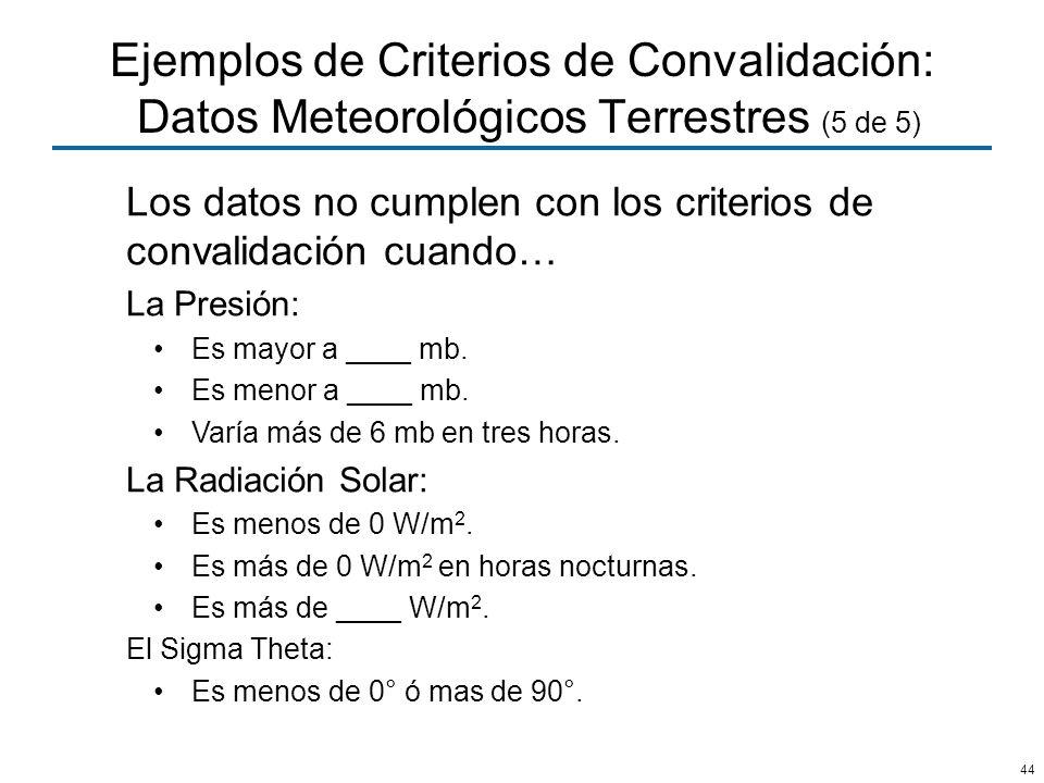 44 Ejemplos de Criterios de Convalidación: Datos Meteorológicos Terrestres (5 de 5) Los datos no cumplen con los criterios de convalidación cuando… La