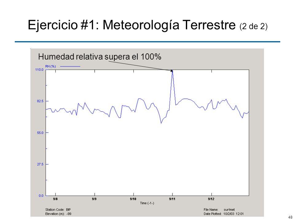 48 Ejercicio #1: Meteorología Terrestre (2 de 2) Humedad relativa supera el 100%