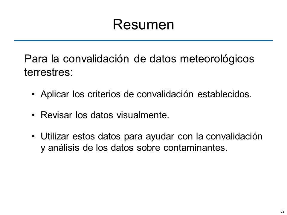 52 Resumen Para la convalidación de datos meteorológicos terrestres: Aplicar los criterios de convalidación establecidos. Revisar los datos visualment