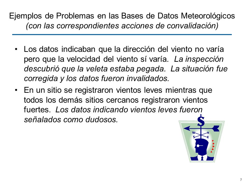 7 Ejemplos de Problemas en las Bases de Datos Meteorológicos (con las correspondientes acciones de convalidación) Los datos indicaban que la dirección