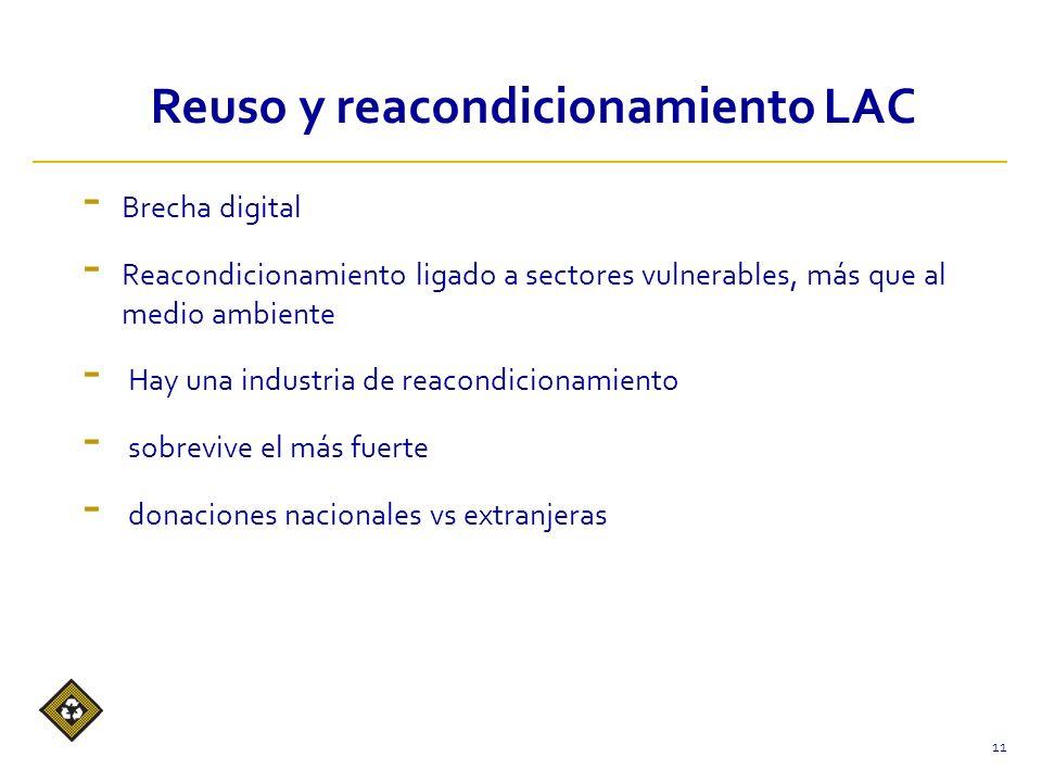 - Brecha digital - Reacondicionamiento ligado a sectores vulnerables, más que al medio ambiente - Hay una industria de reacondicionamiento - sobrevive el más fuerte - donaciones nacionales vs extranjeras 11 Reuso y reacondicionamiento LAC