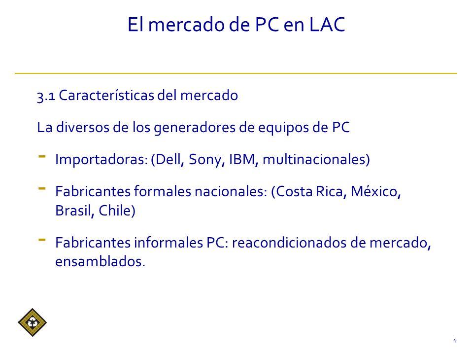 El mercado de PC en LAC 3.1 Características del mercado La diversos de los generadores de equipos de PC - Importadoras: (Dell, Sony, IBM, multinacionales) - Fabricantes formales nacionales: (Costa Rica, México, Brasil, Chile) - Fabricantes informales PC: reacondicionados de mercado, ensamblados.