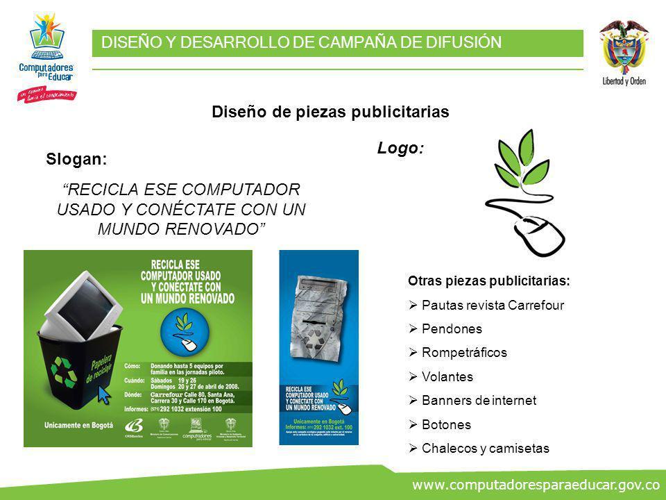 ww.co www.computadoresparaeducar.gov.co DISEÑO Y DESARROLLO DE CAMPAÑA DE DIFUSIÓN Diseño de piezas publicitarias Slogan: RECICLA ESE COMPUTADOR USADO