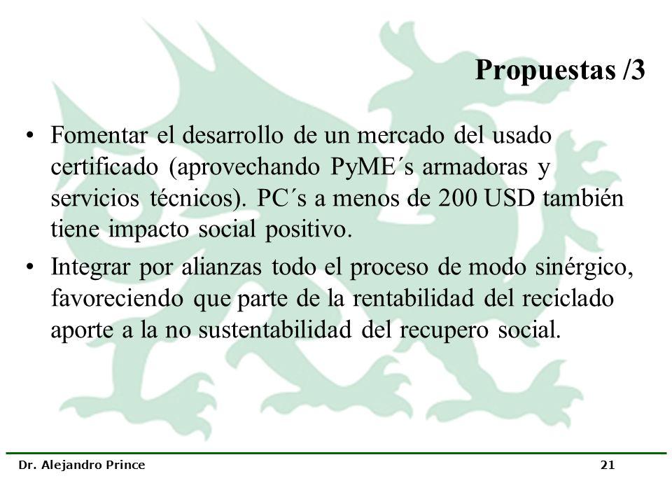 Dr. Alejandro Prince 21 Propuestas /3 Fomentar el desarrollo de un mercado del usado certificado (aprovechando PyME´s armadoras y servicios técnicos).