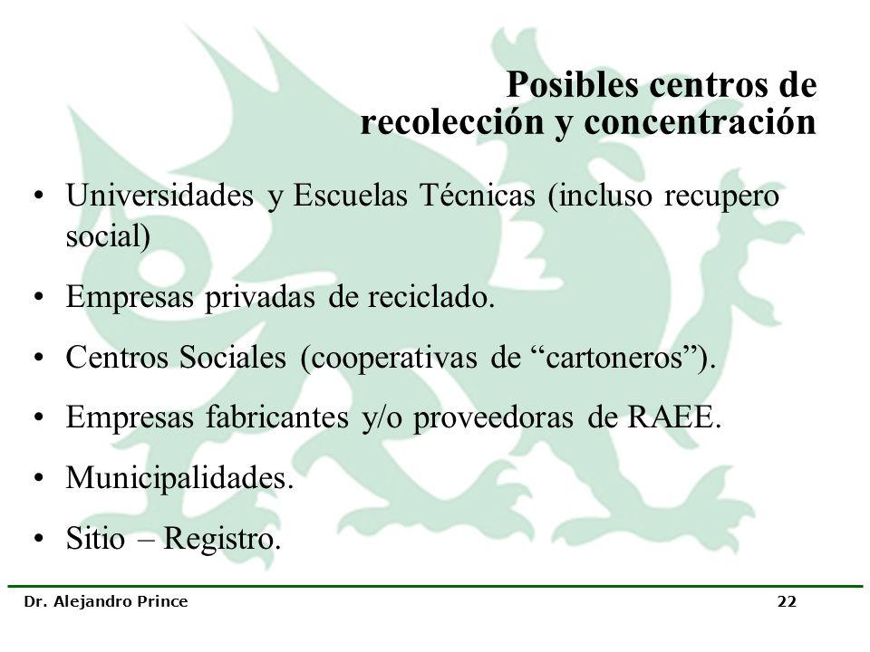 Dr. Alejandro Prince 22 Posibles centros de recolección y concentración Universidades y Escuelas Técnicas (incluso recupero social) Empresas privadas