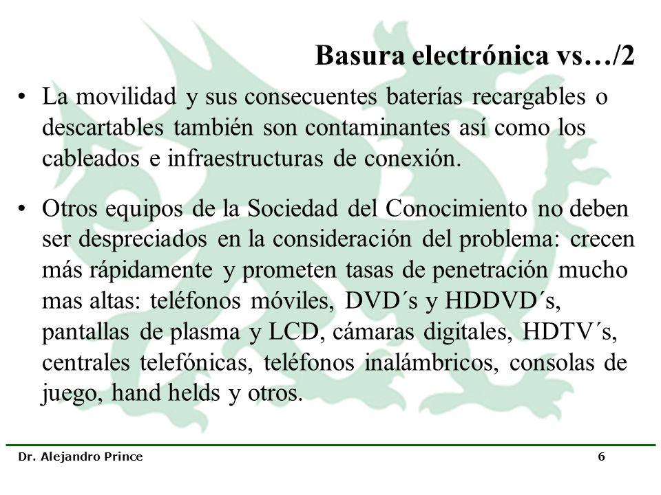 Dr. Alejandro Prince 6 Basura electrónica vs…/2 La movilidad y sus consecuentes baterías recargables o descartables también son contaminantes así como