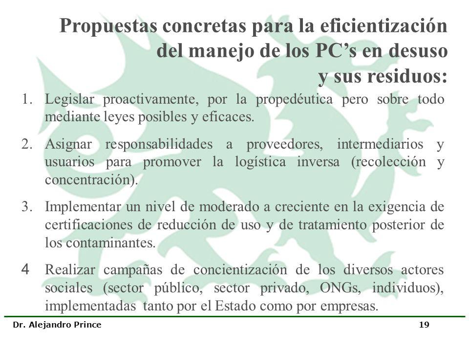 Dr. Alejandro Prince 19 1.Legislar proactivamente, por la propedéutica pero sobre todo mediante leyes posibles y eficaces. 2.Asignar responsabilidades