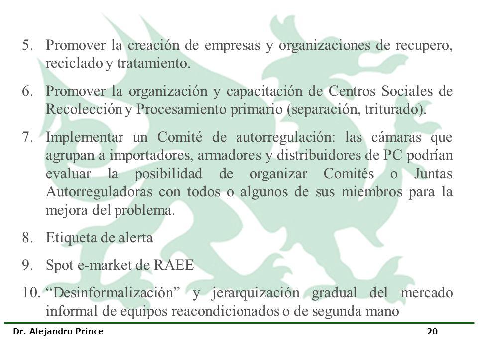 Dr. Alejandro Prince 20 5.Promover la creación de empresas y organizaciones de recupero, reciclado y tratamiento. 6.Promover la organización y capacit
