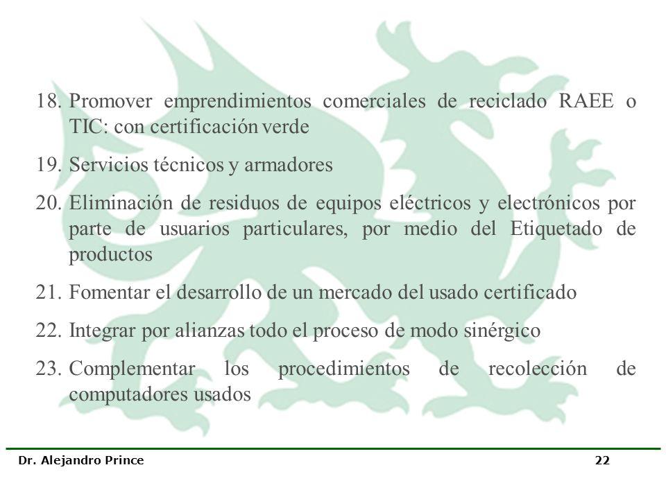 Dr. Alejandro Prince 22 18.Promover emprendimientos comerciales de reciclado RAEE o TIC: con certificación verde 19.Servicios técnicos y armadores 20.
