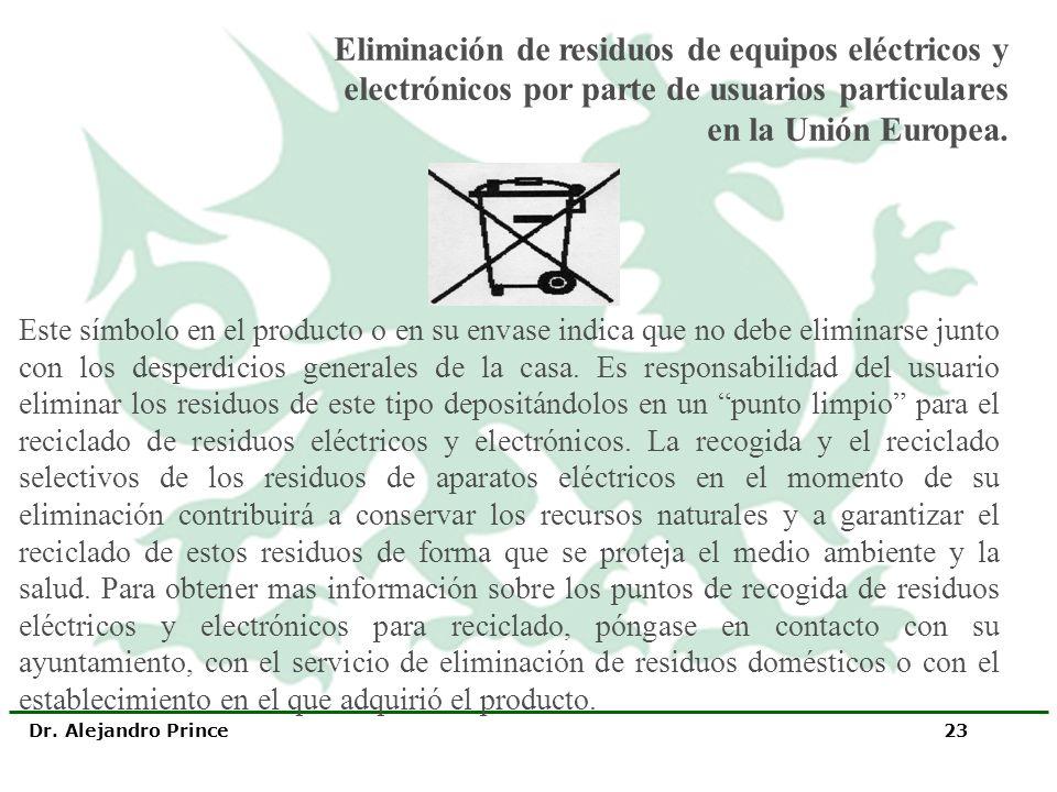 Dr. Alejandro Prince 23 Este símbolo en el producto o en su envase indica que no debe eliminarse junto con los desperdicios generales de la casa. Es r