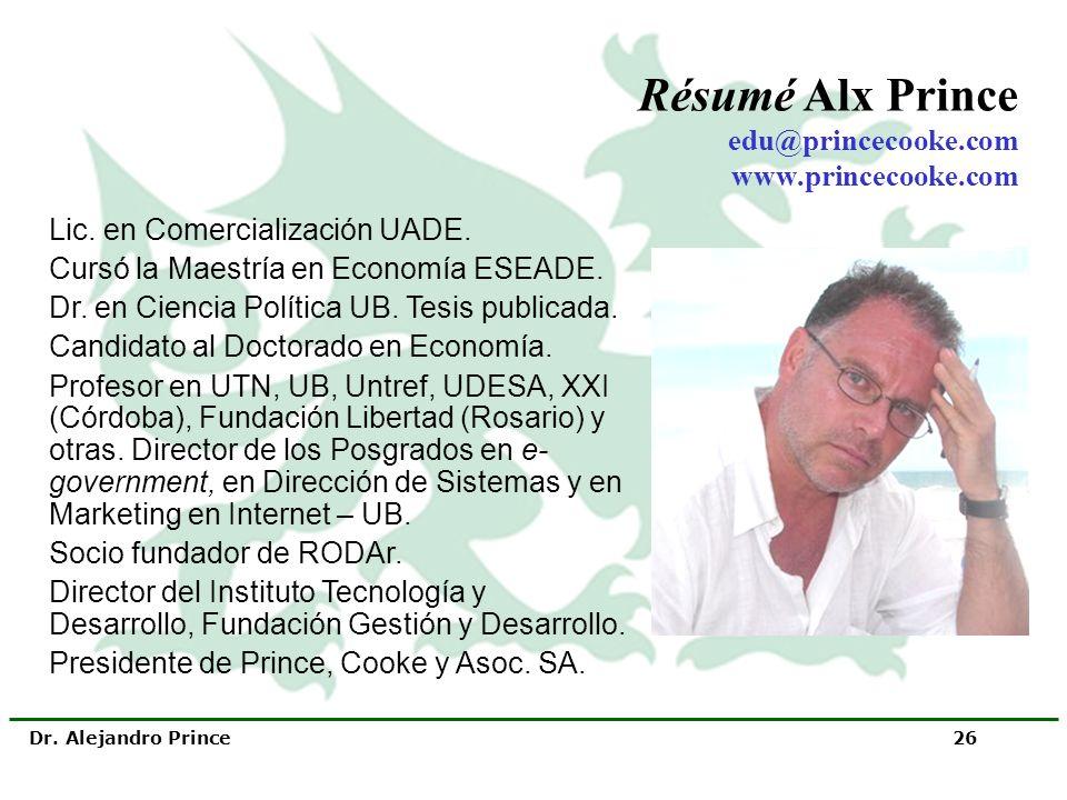 Dr. Alejandro Prince 26 Lic. en Comercialización UADE. Cursó la Maestría en Economía ESEADE. Dr. en Ciencia Política UB. Tesis publicada. Candidato al