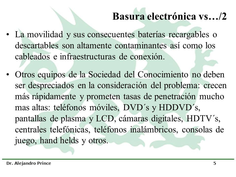 Dr. Alejandro Prince 5 Basura electrónica vs…/2 La movilidad y sus consecuentes baterías recargables o descartables son altamente contaminantes así co
