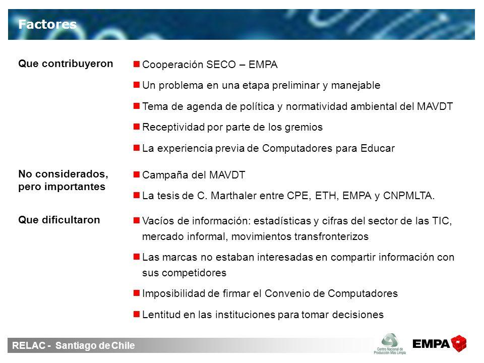 RELAC - Santiago de Chile Factores Vacíos de información: estadísticas y cifras del sector de las TIC, mercado informal, movimientos transfronterizos