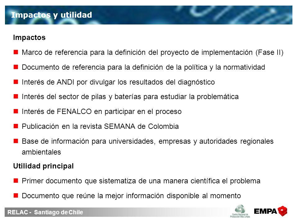 RELAC - Santiago de Chile Impactos Marco de referencia para la definición del proyecto de implementación (Fase II) Documento de referencia para la def