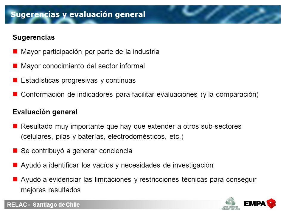 RELAC - Santiago de Chile Sugerencias Mayor participación por parte de la industria Mayor conocimiento del sector informal Estadísticas progresivas y