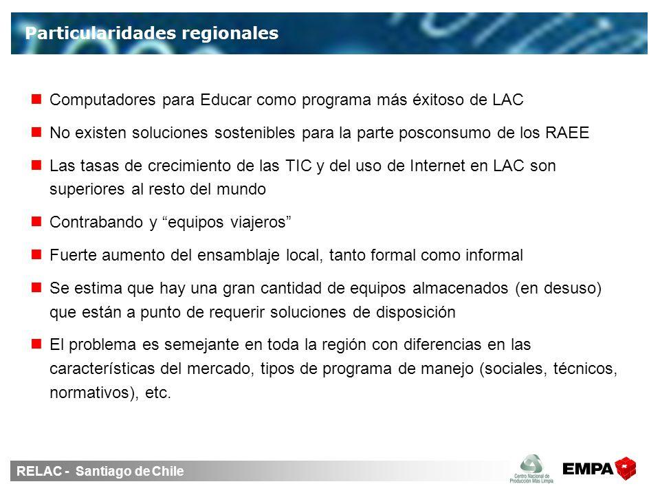 RELAC - Santiago de Chile Computadores para Educar como programa más éxitoso de LAC No existen soluciones sostenibles para la parte posconsumo de los