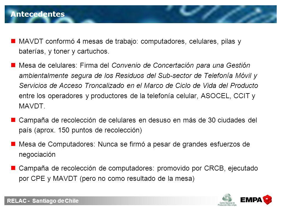 RELAC - Santiago de Chile MAVDT conformó 4 mesas de trabajo: computadores, celulares, pilas y baterías, y toner y cartuchos. Mesa de celulares: Firma