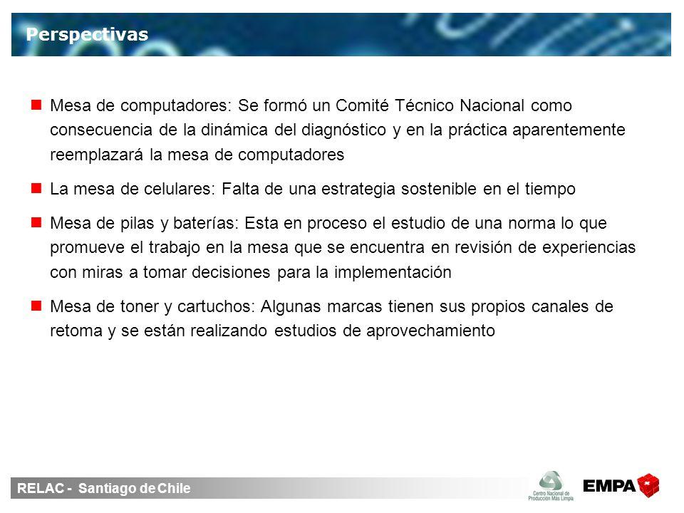 RELAC - Santiago de Chile Perspectivas Mesa de computadores: Se formó un Comité Técnico Nacional como consecuencia de la dinámica del diagnóstico y en