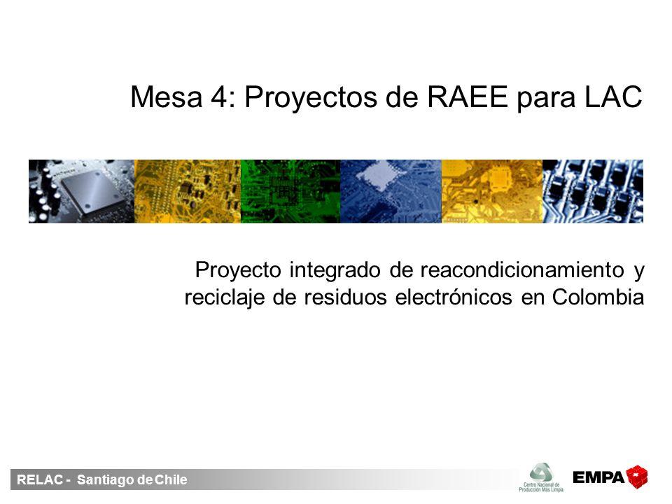 RELAC - Santiago de Chile Mesa 4: Proyectos de RAEE para LAC Proyecto integrado de reacondicionamiento y reciclaje de residuos electrónicos en Colombia