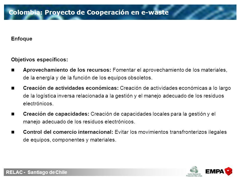 RELAC - Santiago de Chile Colombia: Proyecto de Cooperación en e-waste Enfoque Objetivos específicos: Aprovechamiento de los recursos: Fomentar el aprovechamiento de los materiales, de la energía y de la función de los equipos obsoletos.