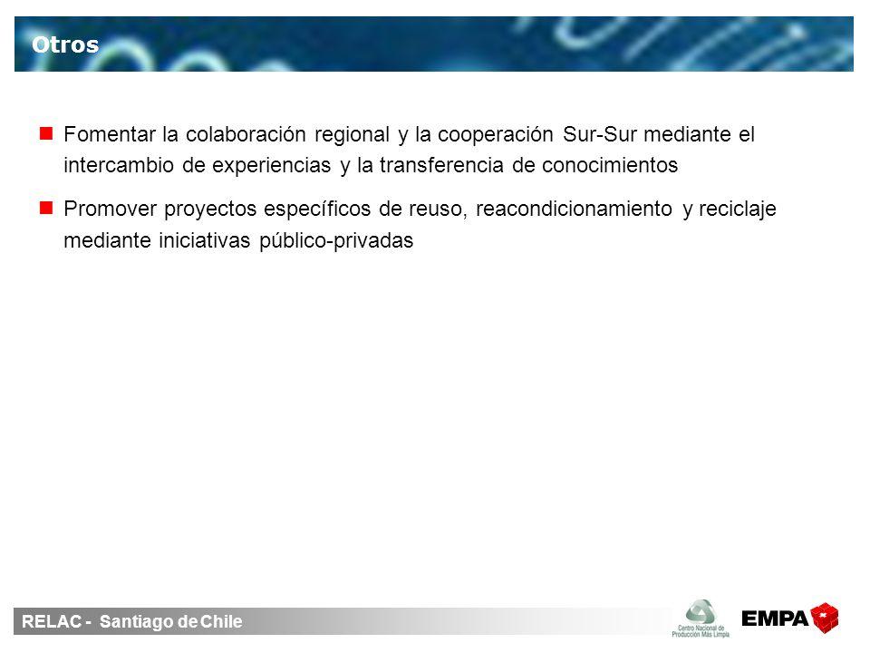 RELAC - Santiago de Chile Fomentar la colaboración regional y la cooperación Sur-Sur mediante el intercambio de experiencias y la transferencia de conocimientos Promover proyectos específicos de reuso, reacondicionamiento y reciclaje mediante iniciativas público-privadas Otros