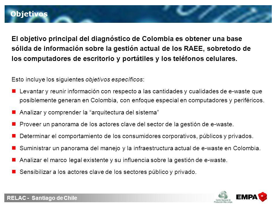 RELAC - Santiago de Chile Objetivos Esto incluye los siguientes objetivos específicos: Levantar y reunir información con respecto a las cantidades y cualidades de e-waste que posiblemente generan en Colombia, con enfoque especial en computadores y periféricos.