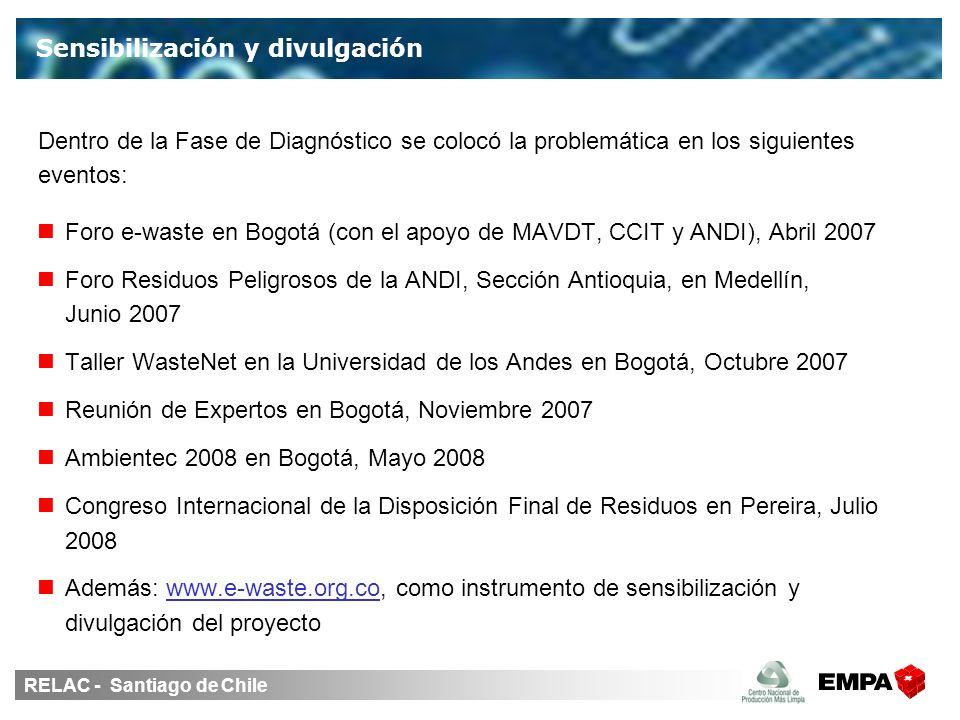 RELAC - Santiago de Chile Foro e-waste en Bogotá (con el apoyo de MAVDT, CCIT y ANDI), Abril 2007 Foro Residuos Peligrosos de la ANDI, Sección Antioquia, en Medellín, Junio 2007 Taller WasteNet en la Universidad de los Andes en Bogotá, Octubre 2007 Reunión de Expertos en Bogotá, Noviembre 2007 Ambientec 2008 en Bogotá, Mayo 2008 Congreso Internacional de la Disposición Final de Residuos en Pereira, Julio 2008 Además: www.e-waste.org.co, como instrumento de sensibilización y divulgación del proyecto Sensibilización y divulgación Dentro de la Fase de Diagnóstico se colocó la problemática en los siguientes eventos:
