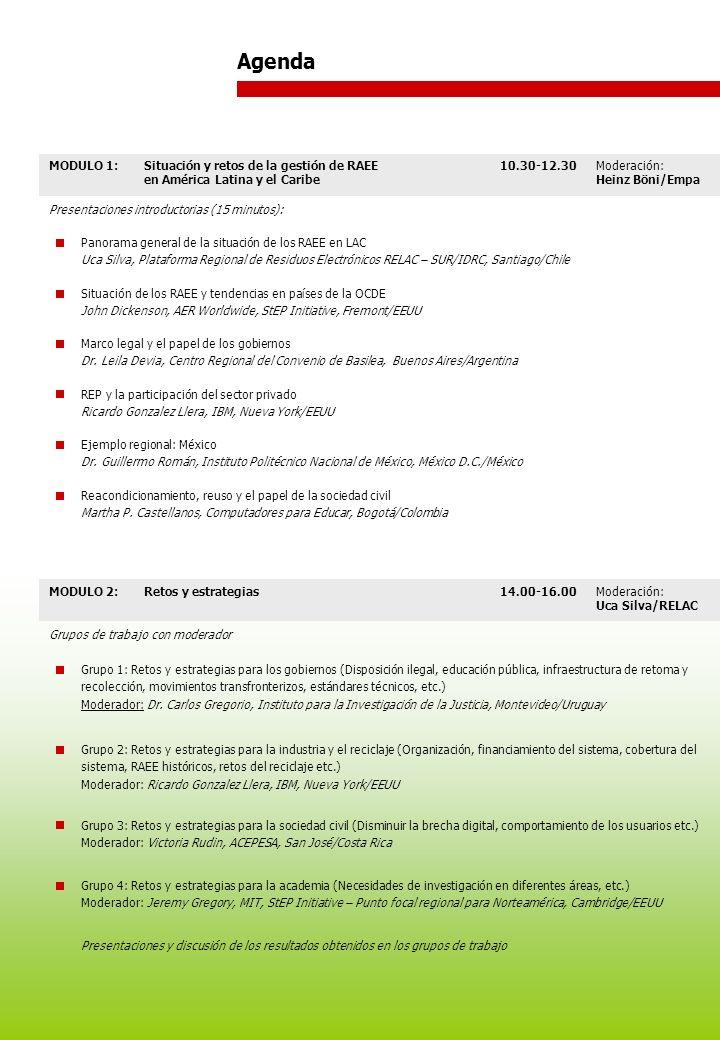 MODULO 1:Situación y retos de la gestión de RAEE en América Latina y el Caribe 10.30-12.30Moderación: Heinz Böni/Empa Presentaciones introductorias (15 minutos): Panorama general de la situación de los RAEE en LAC Uca Silva, Plataforma Regional de Residuos Electrónicos RELAC – SUR/IDRC, Santiago/Chile Situación de los RAEE y tendencias en países de la OCDE John Dickenson, AER Worldwide, StEP Initiative, Fremont/EEUU Marco legal y el papel de los gobiernos Dr.