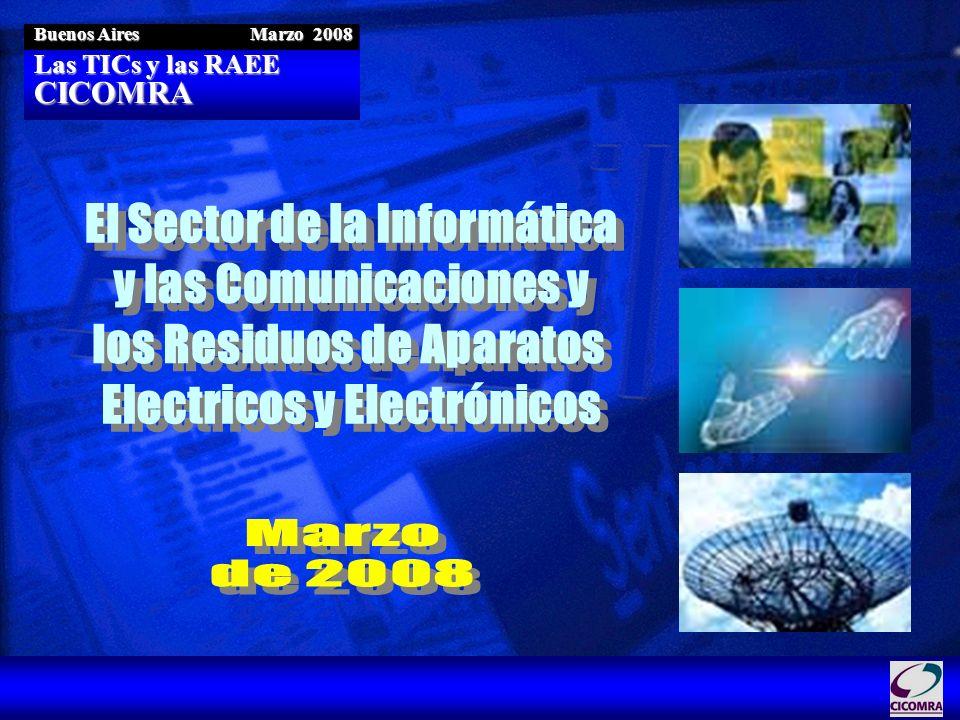 Las TICs y las RAEE CICOMRA Buenos Aires Marzo 2008 Reducción en la Fuente Incorporación de materiales reciclables / reutilizables 53.500 toneladas reprocesadas en 2005 280.000 megawatts / hora de ahorro de energía en 2005 Datos correspondientes a los planes de gestión del mercado americano