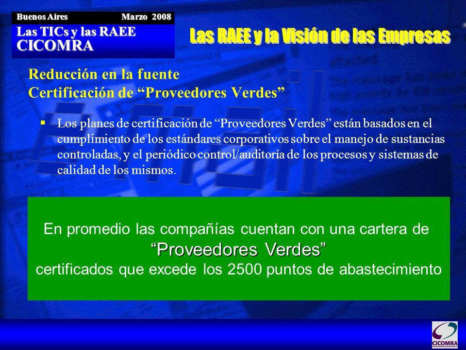 Las TICs y las RAEE CICOMRA Buenos Aires Marzo 2008 Reducción en la fuente Certificación de Proveedores Verdes Los planes de certificación de Proveedo