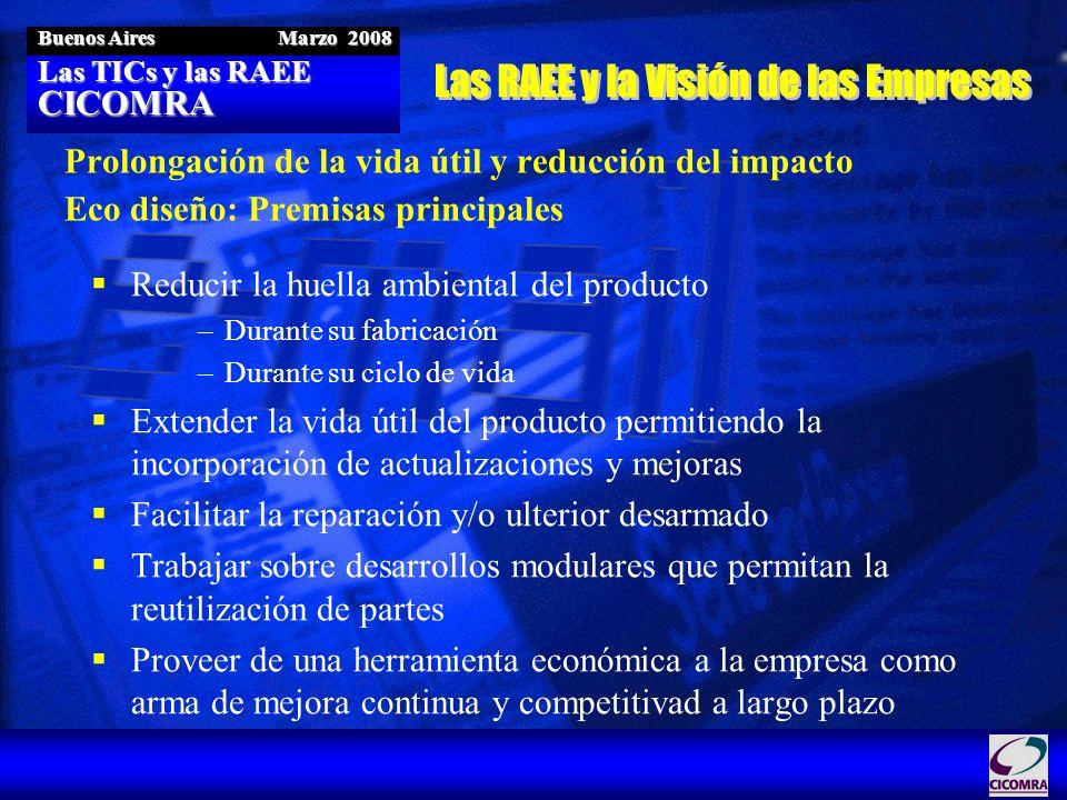 Las TICs y las RAEE CICOMRA Buenos Aires Marzo 2008 Prolongación de la vida útil y reducción del impacto Eco diseño: Premisas principales Reducir la h