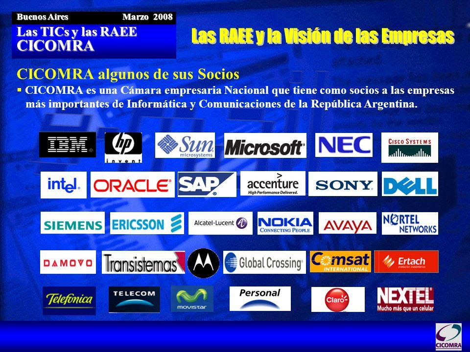 Las TICs y las RAEE CICOMRA Buenos Aires Marzo 2008 CICOMRA algunos de sus Socios CICOMRA es una Cámara empresaria Nacional que tiene como socios a la
