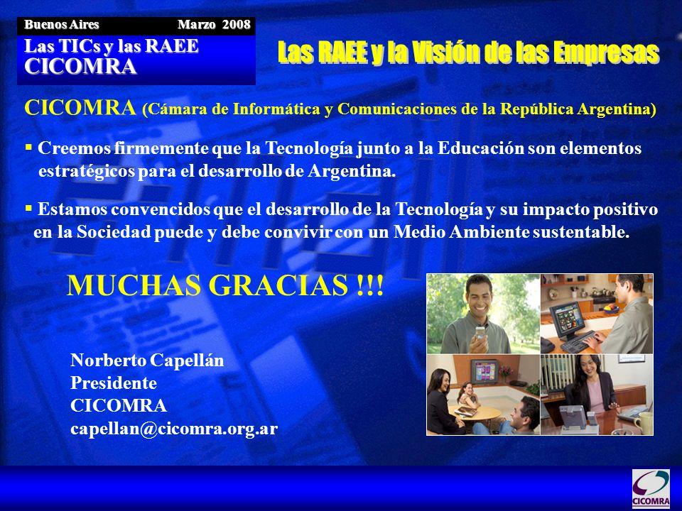 Las TICs y las RAEE CICOMRA Buenos Aires Marzo 2008 CICOMRA (Cámara de Informática y Comunicaciones de la República Argentina) Creemos firmemente que
